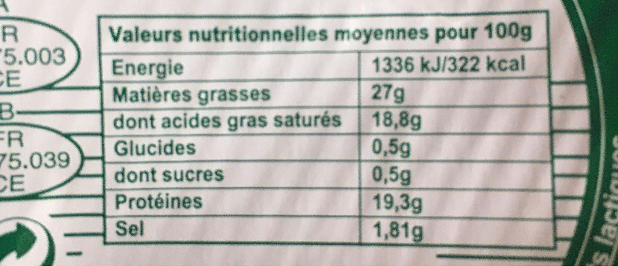 Fromage Non Affiné Blanc (26% M.G) - Informations nutritionnelles