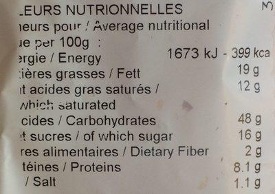Brioche aux pépites de chocolat au lait pur beurre - Informations nutritionnelles - fr
