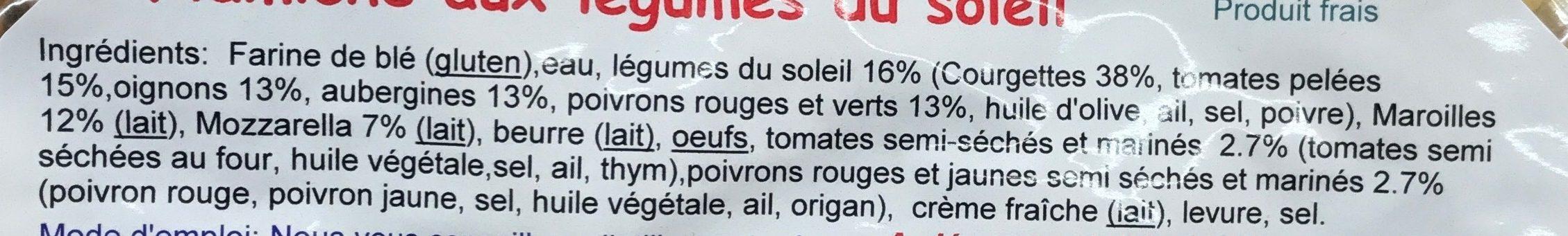 Flamiche aux légumes du soleil - Ingredients