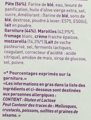Flamichettes Maroilles, Mozzarella - Ingredients