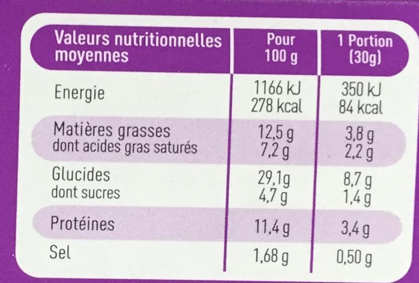 Flamichettes Maroilles, Mozzarella - Nutrition facts
