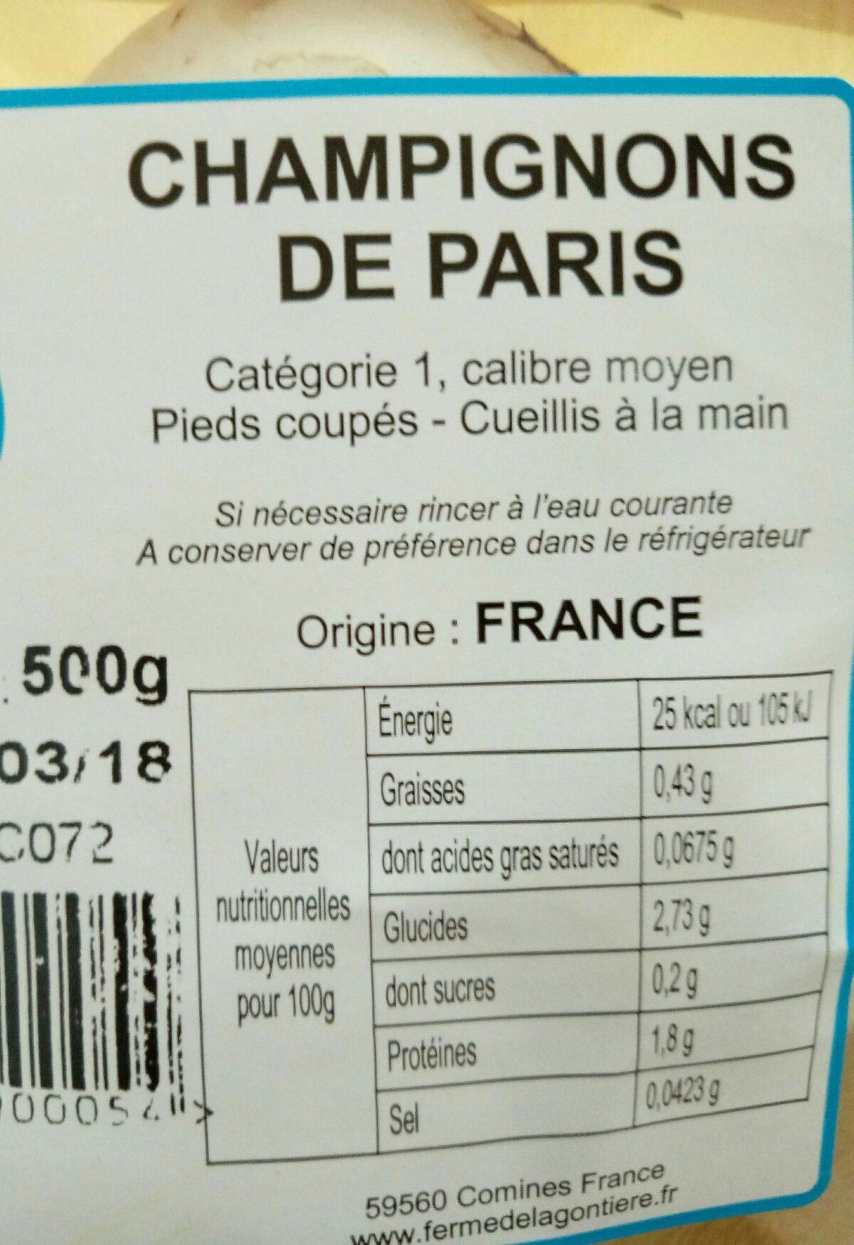Champignon blanc de Paris - Ingrédients - fr