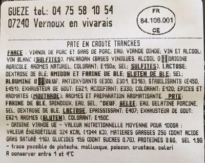 Pate Croute X4TR - Ingrediënten - fr