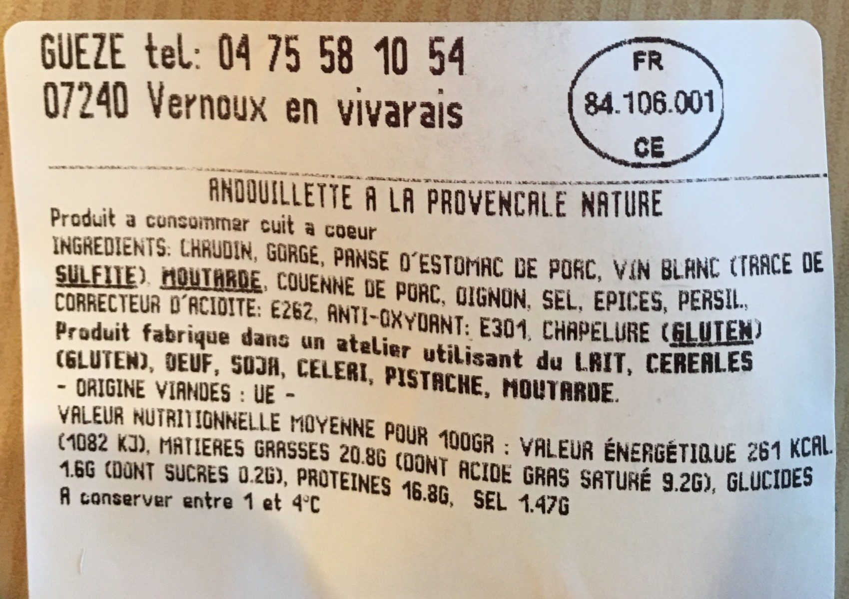 andouillette - Ingrediënten - fr
