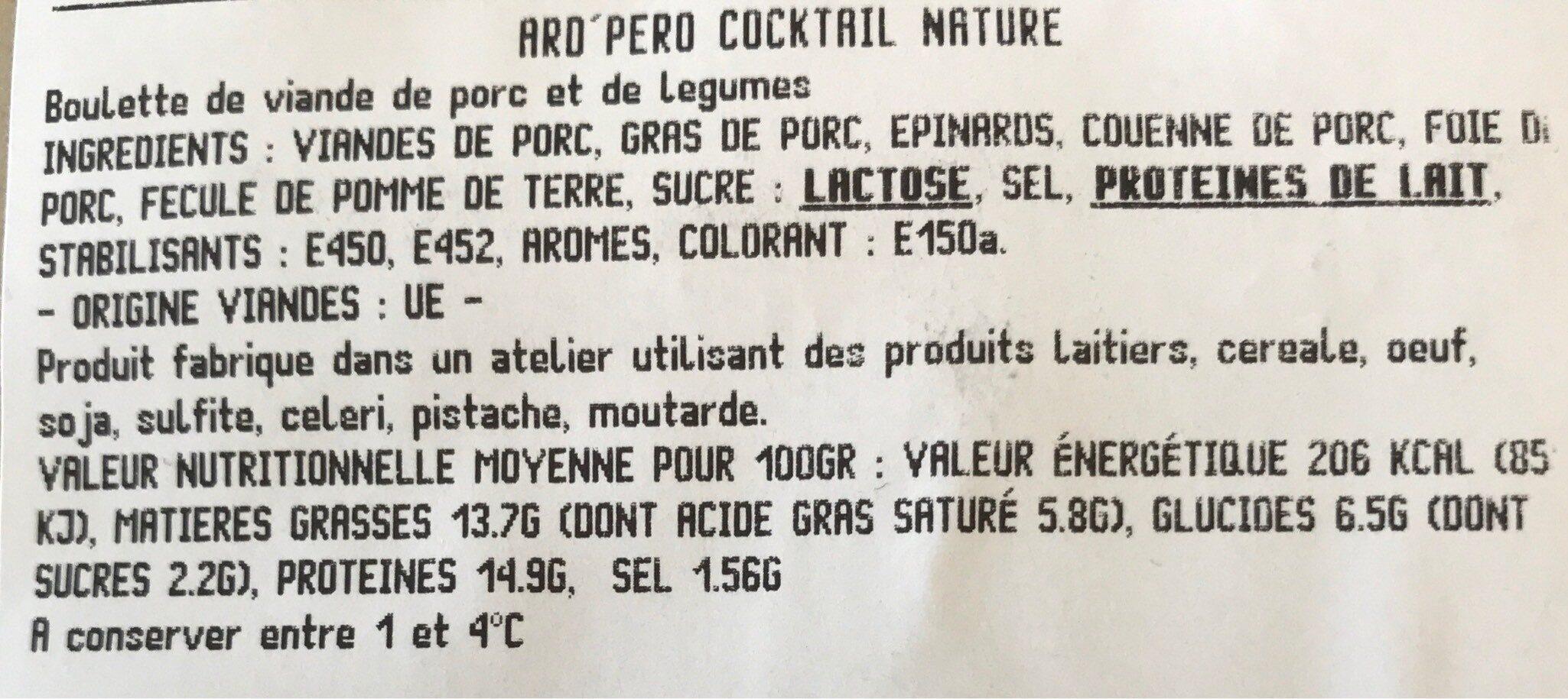 LES ARD'PERO - Informations nutritionnelles - fr
