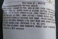 Saucisson de l'Ardèche - Ingrédients - fr
