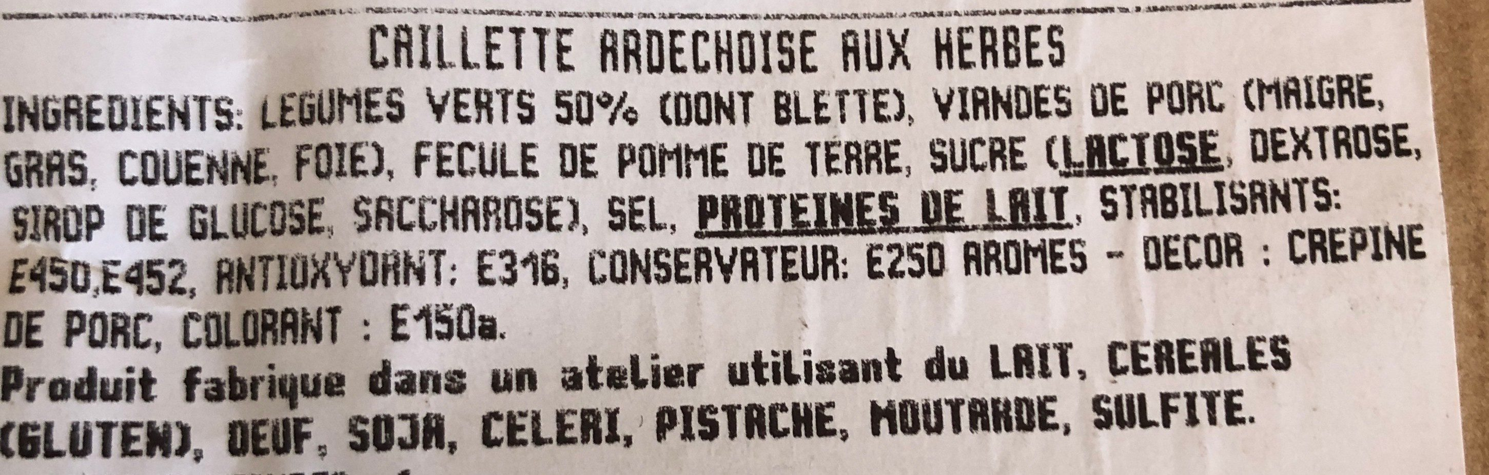Caillette Ardéchoise aux herbes - Ingrediënten - fr