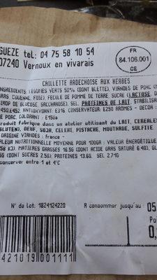 Caillette Ardéchoise aux herbes - Voedingswaarden - fr
