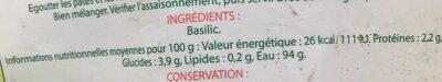 Basilic feuilles coupées prêtes à l'emploi - Informations nutritionnelles