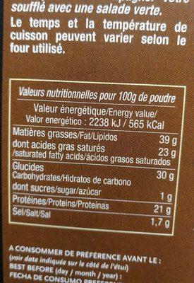 Soufflé au reblochon - Nutrition facts - fr