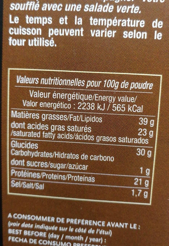 Soufflé au reblochon - Voedingswaarden - fr
