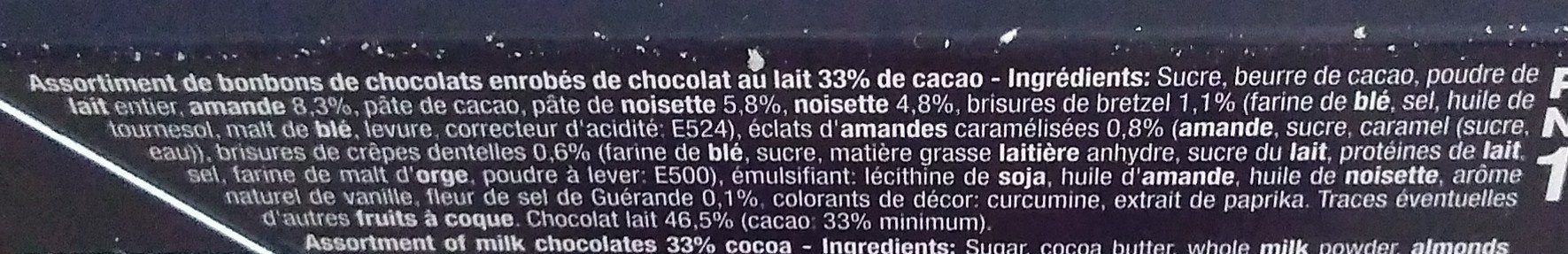 Assortiment de pralinés chocolat lait - Ingredients