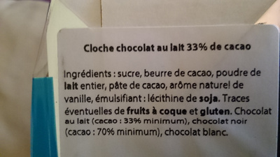 cloche au chocolat au lait - Nutrition facts - fr