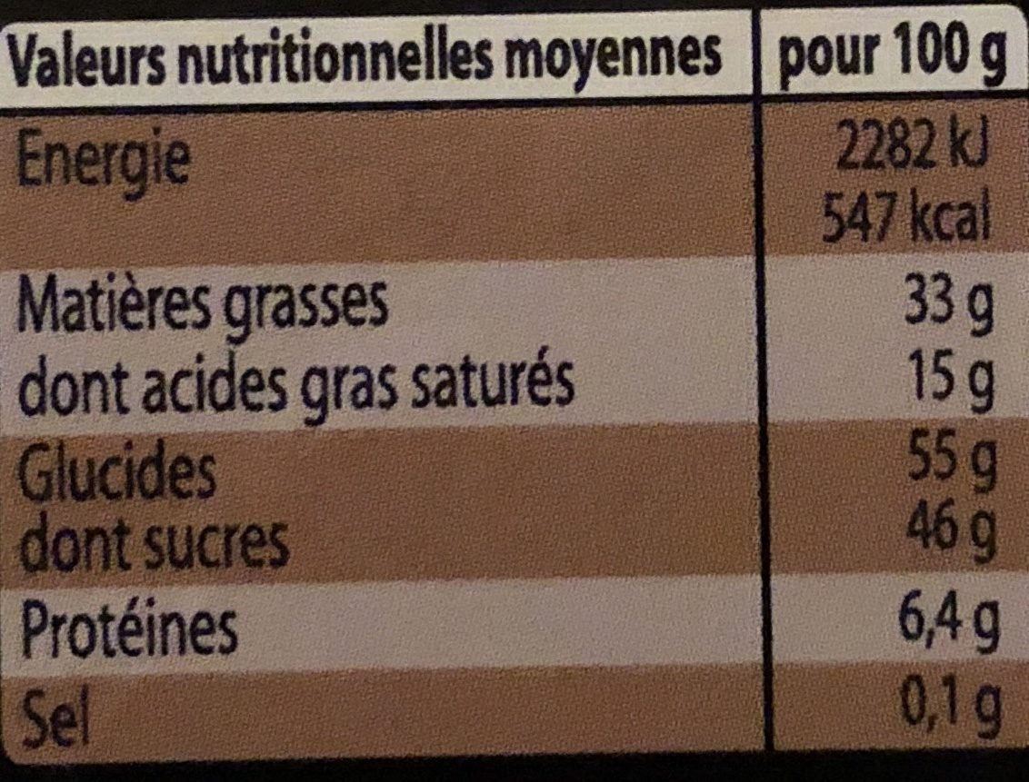 Chocolats - Nutrition facts