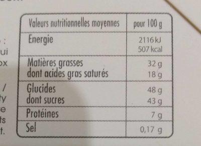 Assortiment de mendiants chocolat au lait - Informations nutritionnelles - fr
