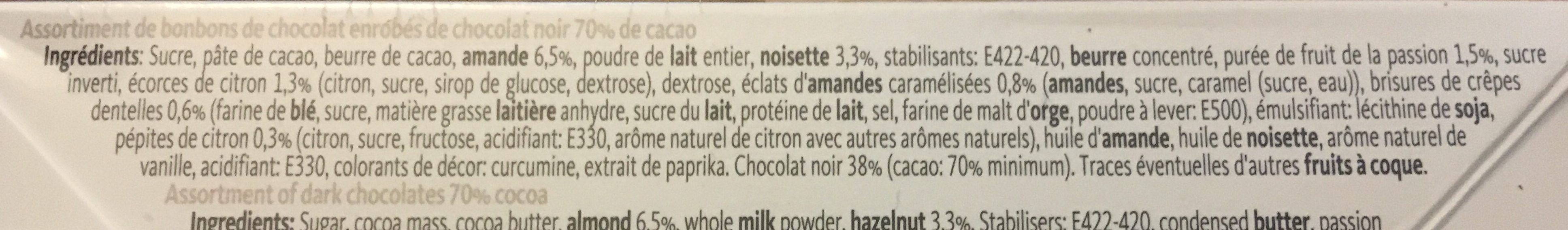 Collection noir 70 % - Ingredients