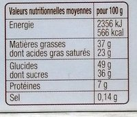 Chocolats Ganache Pâtissier - Nutrition facts