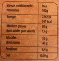 Assortiment de chocolats bio - Informations nutritionnelles - fr