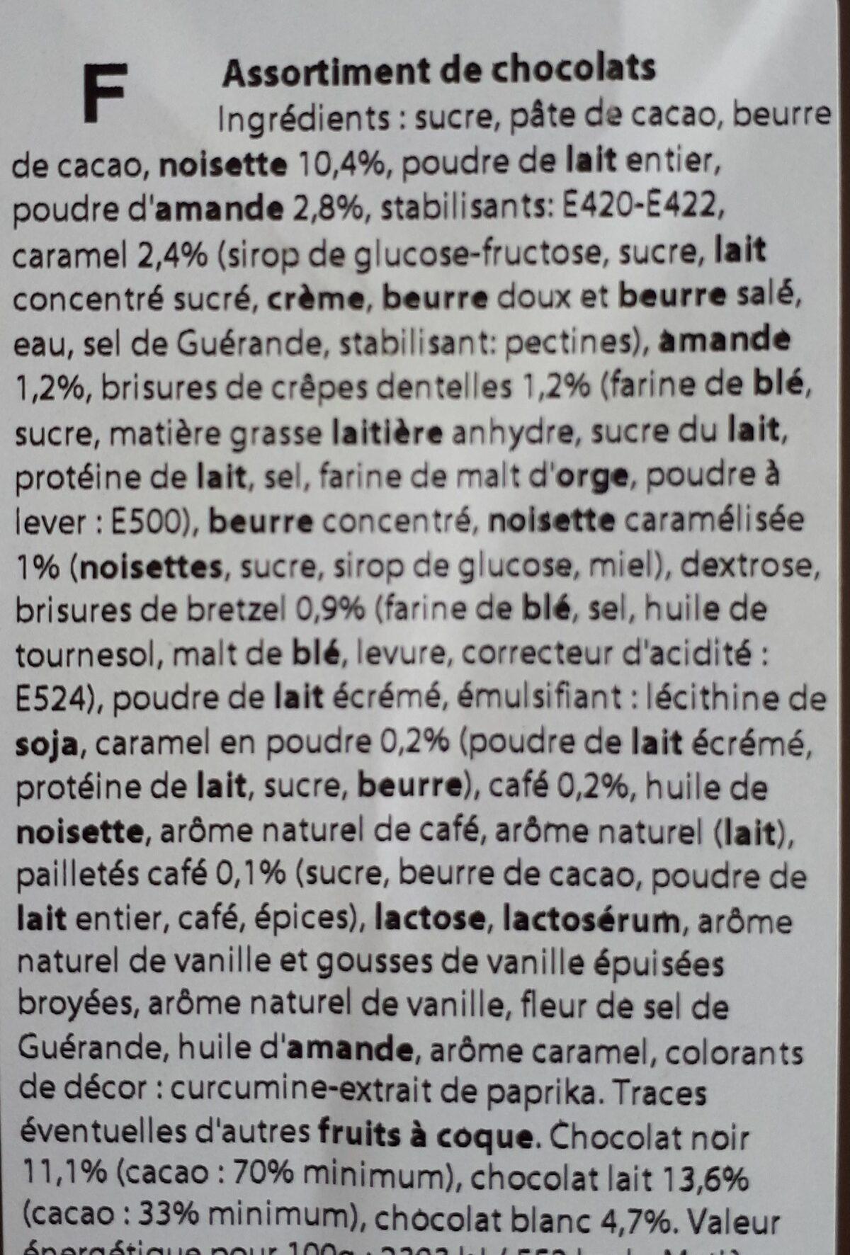 Assortiments de chocolats - Ingredients