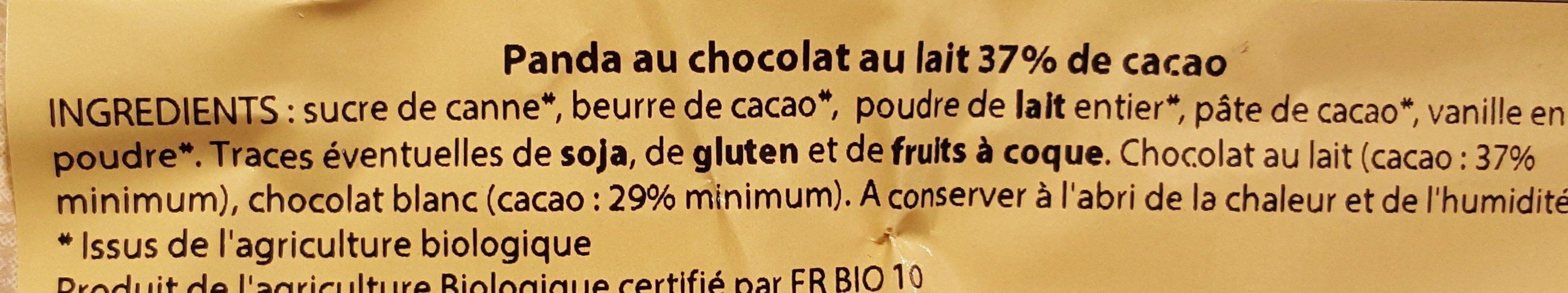 Panda au Chocolat au Lait 37% de Cacao Équitable & Bio - Ingredients