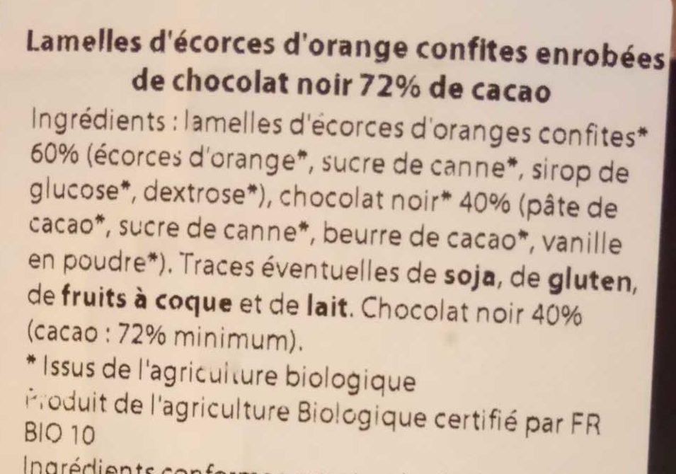 Orangettes - Lamelles d'écorces d'orange confites enrobées de chocolat noir - Ingredienti - fr