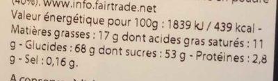 Orangettes - Lamelles d'écorces d'orange confites enrobées de chocolat noir - Valori nutrizionali - fr