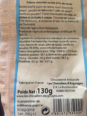 Friture au chocolat au lait bio - Ingrédients - fr