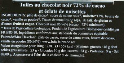 Tuiles chocolat noir éclats de noisettes - Ingrédients - fr