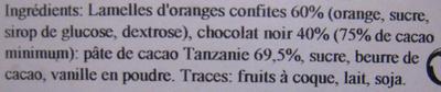 Orangettes chocolat noir origine Tanzanie Chocolaterie C.D.A. - Ingrédients - fr
