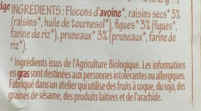 Porridge Raisins Figues Pruneaux - Ingrédients
