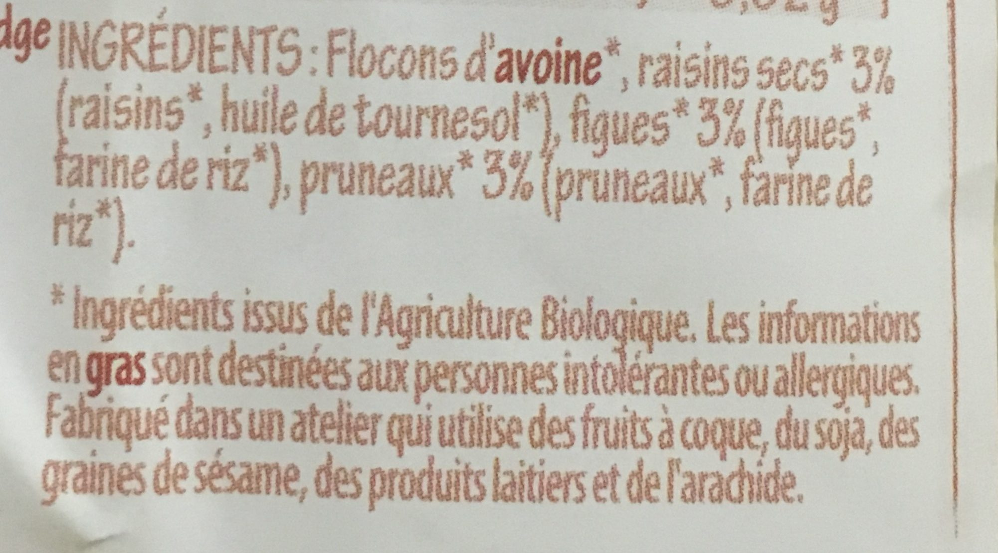 Porridge Raisins Figues Pruneaux - Ingrédients - fr