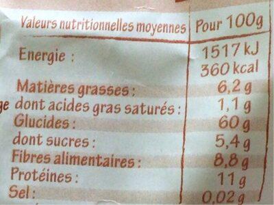 Porridge Raisins Figues Pruneaux - Informations nutritionnelles - fr