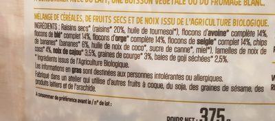 Muesli bananes, goji,  noix de cajou, - Ingrédients - fr