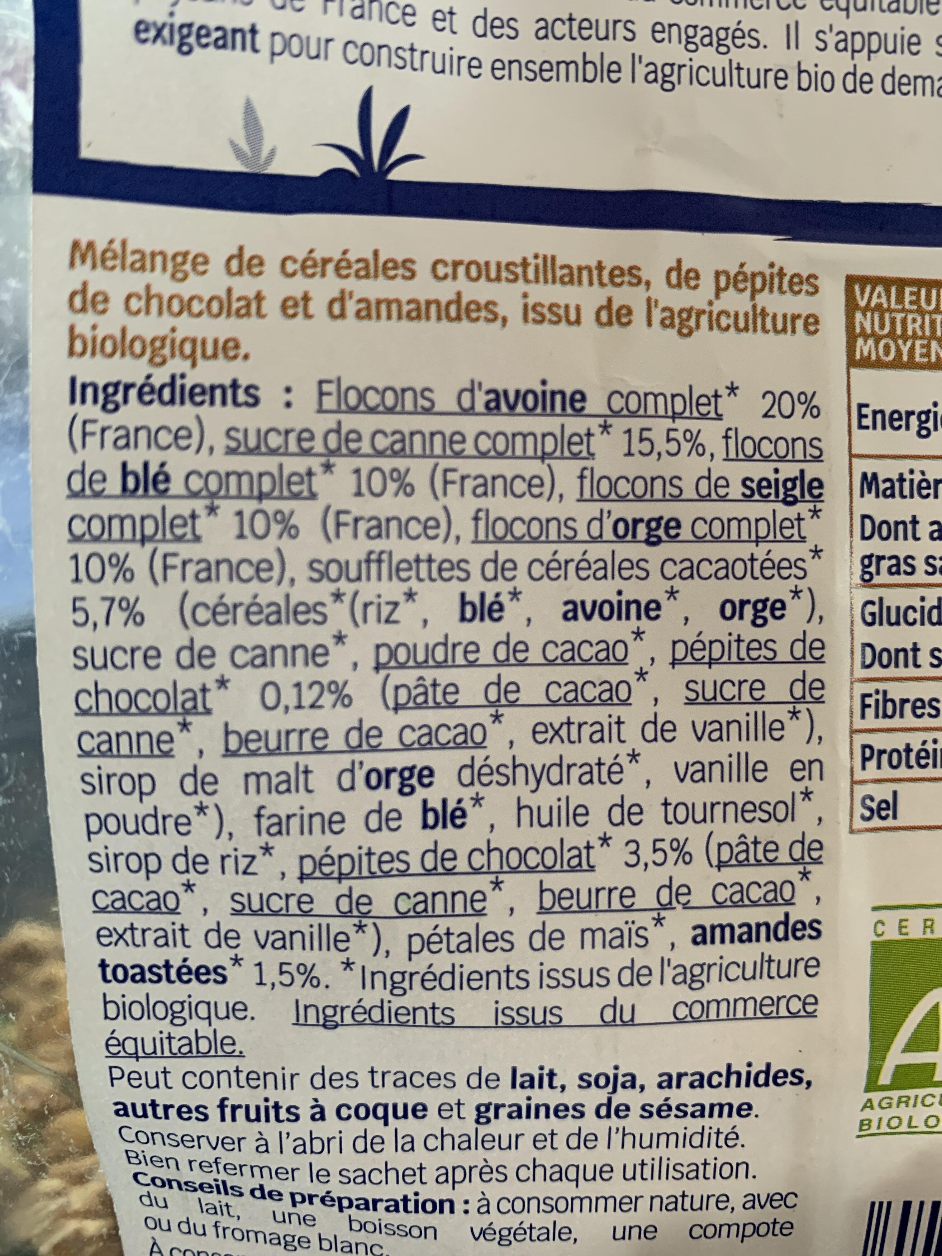 Muesli croustillant Chocolat & Amandes - Ingrédients - fr