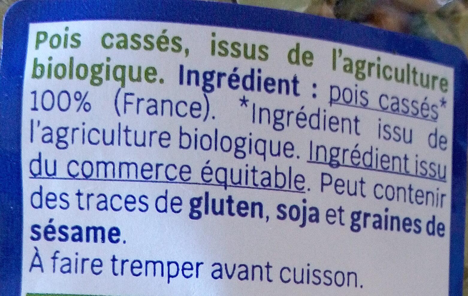 pois cassés - Ingrédients - fr