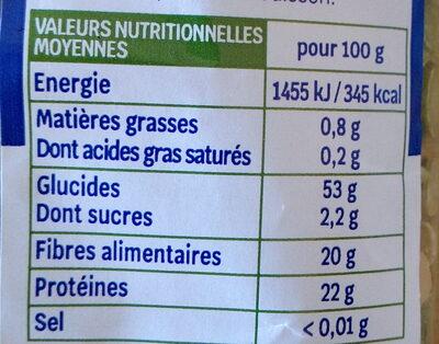 pois cassés - Informations nutritionnelles - fr