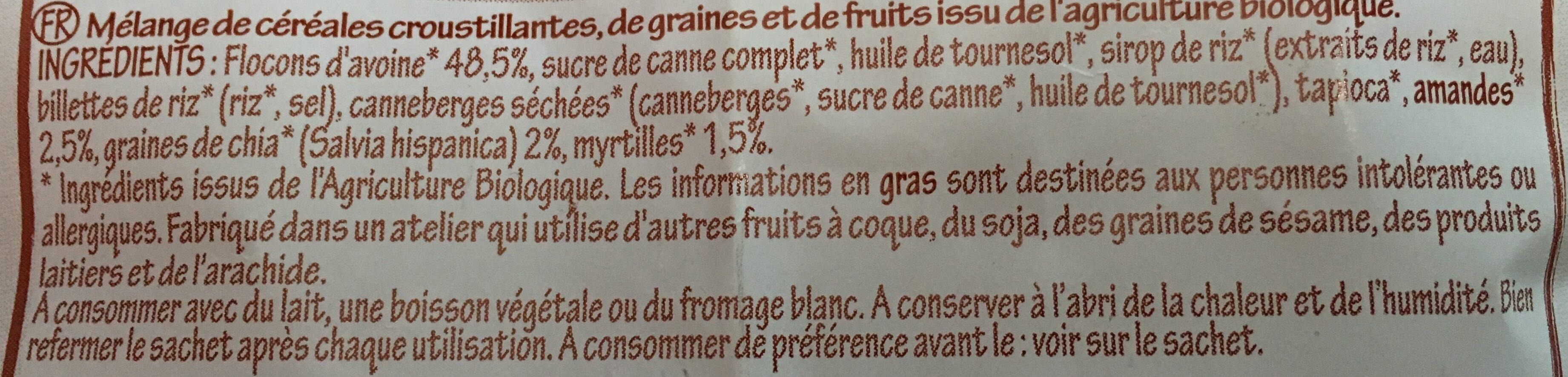 Krounchy Chia Myrtille Avoine (500 GR) - Ingrediënten