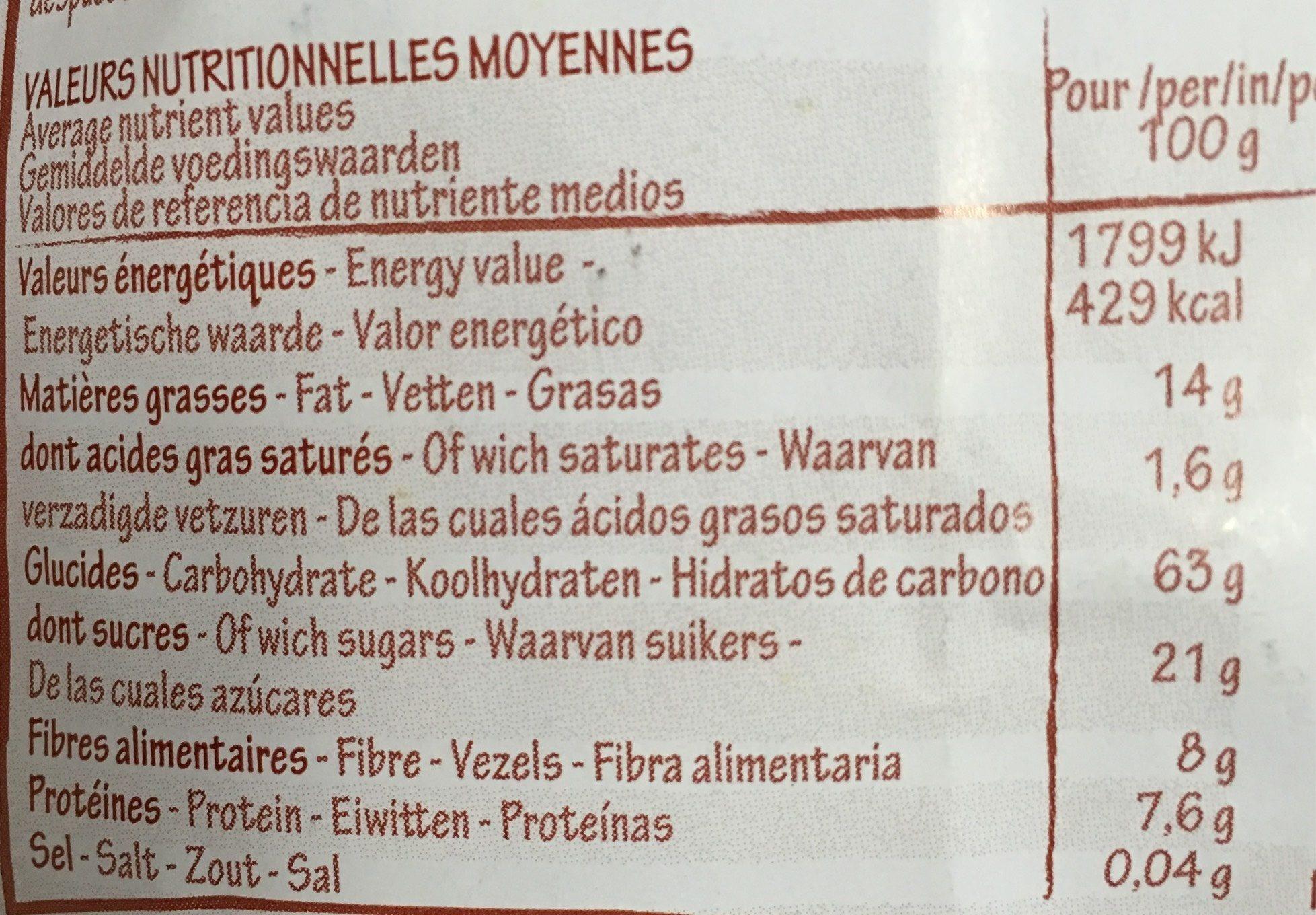 Krounchy Chia Myrtille Avoine (500 GR) - Voedigswaarden