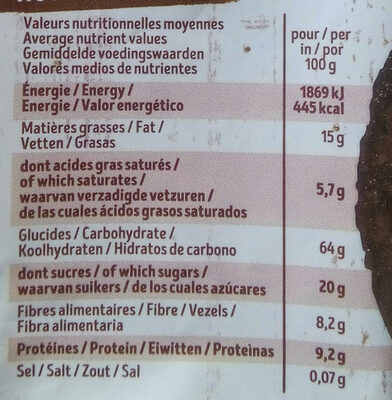 Krounchy too chocolat - Nutrition facts