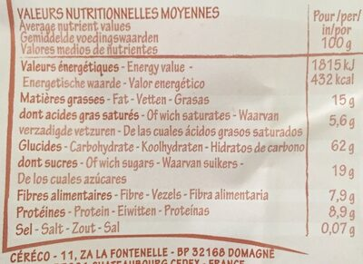 krounchy too chocolat - Informations nutritionnelles - fr