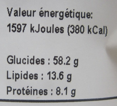 Krouncho Amaranthe - Informations nutritionnelles
