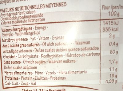 Flakes d'Épeautre Complet - Información nutricional