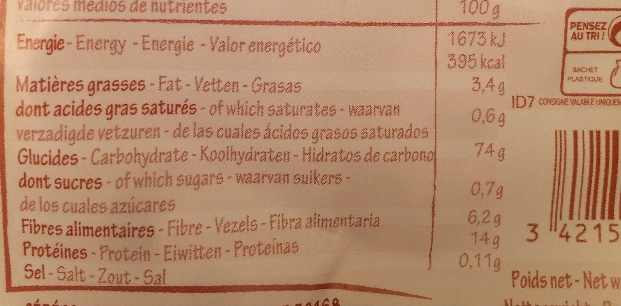 Flakes de sarrasin - Valori nutrizionali - fr