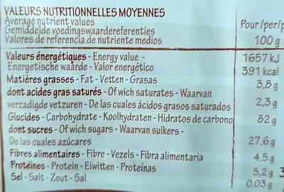 Sarrasin soufflé au miel - Informations nutritionnelles