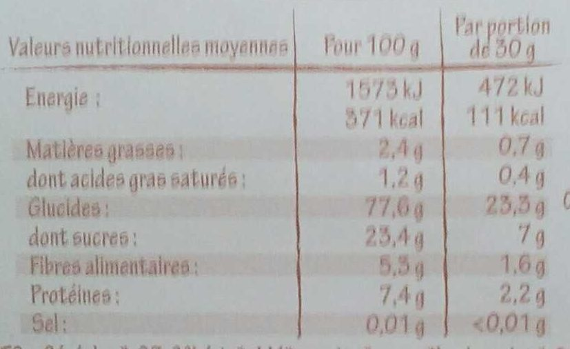 Choco crisp chocolat - Informations nutritionnelles - fr