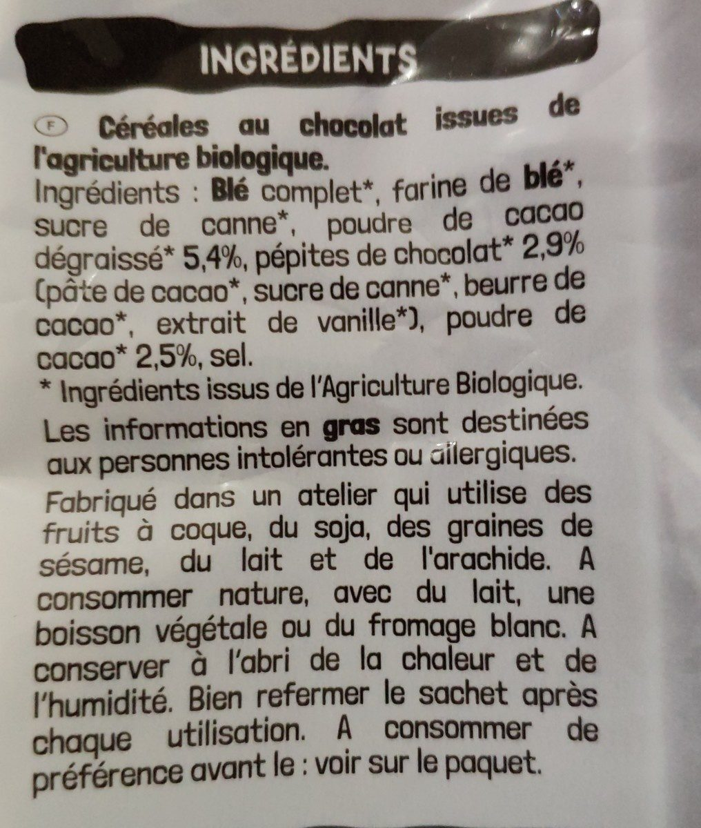 Chocolune - Ingrédients