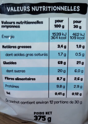 Chocolune - Informations nutritionnelles