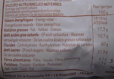 Ka'ré fourré chocolinette - Nutrition facts