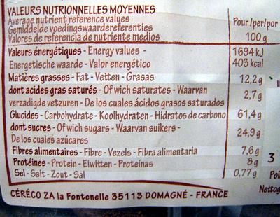 Ka'ré fourré choco noisettes - Nutrition facts - fr