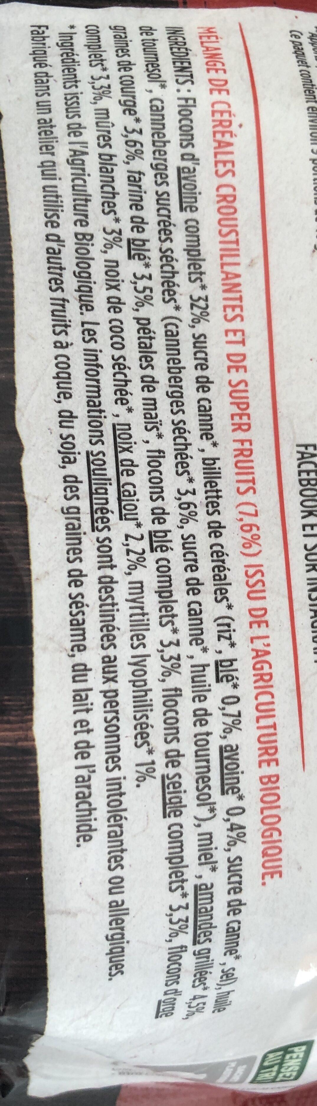 Le croustillant super fruits - Ingrédients - fr